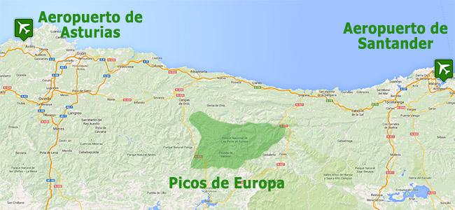 Mapa de situación de Picos de Europa respecto a sus aeropuertos más cercanos